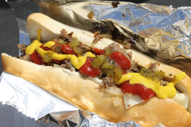 Philly cheese steak w/ hot dog toppings...